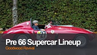 Pre 66 Car Supercar Lineup at Goodwood Revival